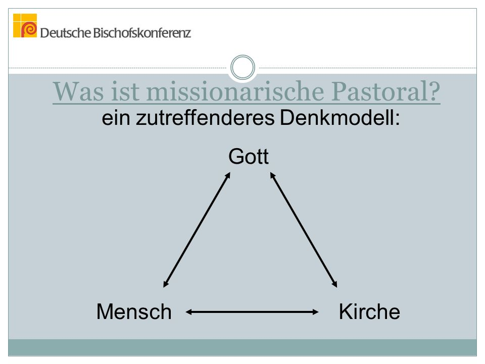 Was ist missionarische Pastoral? ein zutreffenderes Denkmodell: Gott MenschKirche