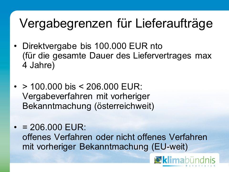 Vergabegrenzen für Lieferaufträge Direktvergabe bis 100.000 EUR nto (für die gesamte Dauer des Liefervertrages max 4 Jahre) > 100.000 bis < 206.000 EU