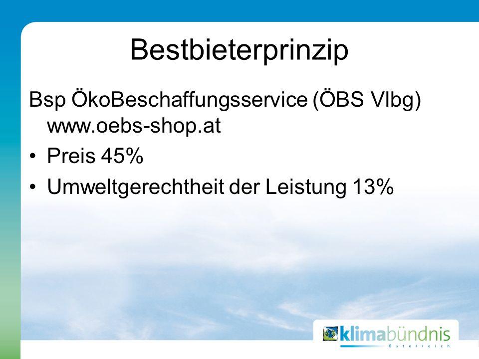 Bestbieterprinzip Bsp ÖkoBeschaffungsservice (ÖBS Vlbg) www.oebs-shop.at Preis 45% Umweltgerechtheit der Leistung 13%