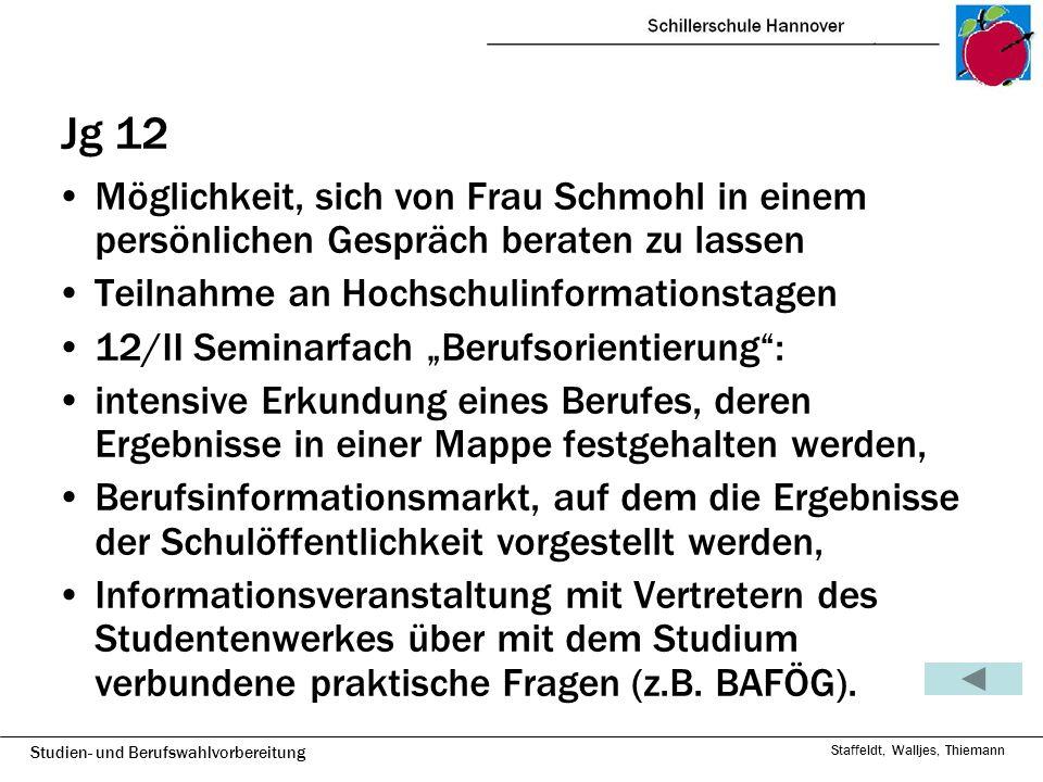 Studien- und Berufswahlvorbereitung Staffeldt, Walljes, Thiemann Jg 12 Möglichkeit, sich von Frau Schmohl in einem persönlichen Gespräch beraten zu la