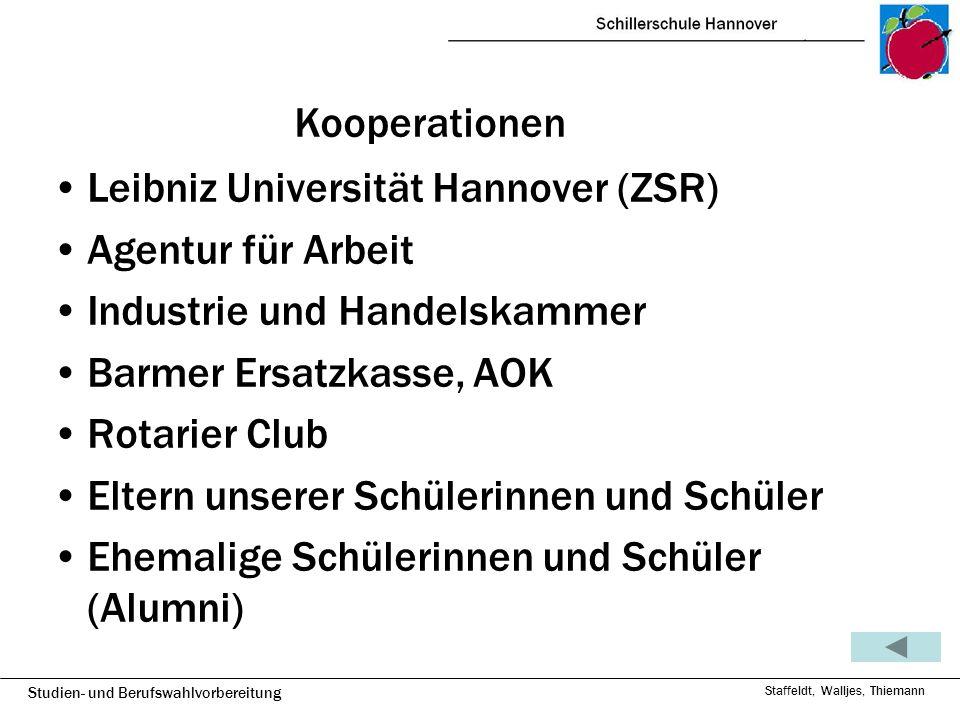 Studien- und Berufswahlvorbereitung Staffeldt, Walljes, Thiemann Kooperationen Leibniz Universität Hannover (ZSR) Agentur für Arbeit Industrie und Han