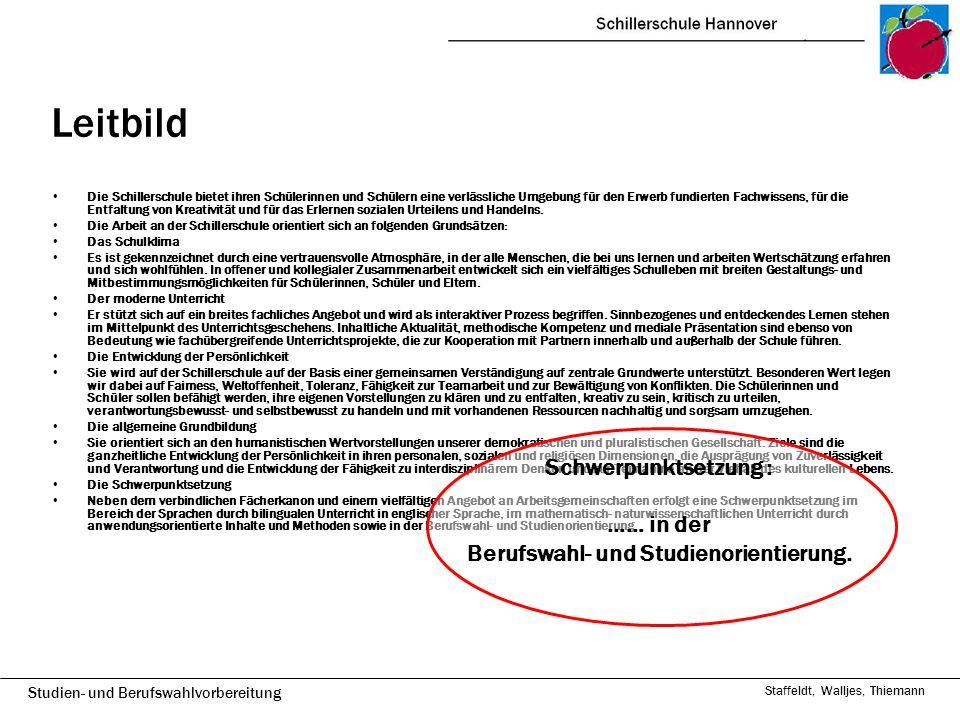 Studien- und Berufswahlvorbereitung Staffeldt, Walljes, Thiemann Entwicklungsperspektiven Stärkung der individuellen Förderung z.B.