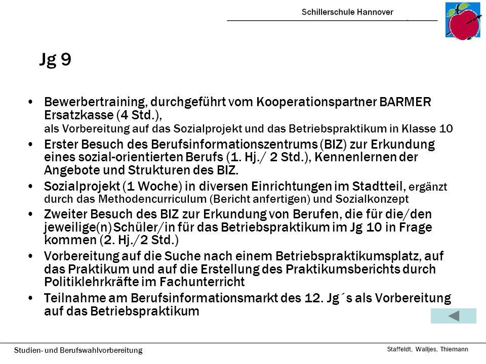 Studien- und Berufswahlvorbereitung Staffeldt, Walljes, Thiemann Jg 10 14-tätiges Betriebspraktikum, über das ein Bericht angefertigt wird Möglichkeit, sich von Frau Schmohl von der Berufsberatung der Agentur der Arbeit in einem persönlichen Gespräch beraten zu lassen Eignungstest (3 Std.), durchgeführt von der BARMER Frau Schmohl: Berufswahl, Profilwahl Oberstufe (2 Std.)