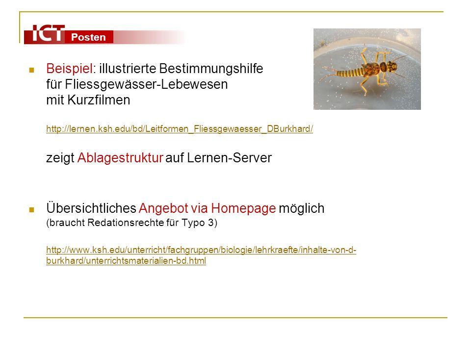 Posten Beispiel: illustrierte Bestimmungshilfe für Fliessgewässer-Lebewesen mit Kurzfilmen http://lernen.ksh.edu/bd/Leitformen_Fliessgewaesser_DBurkha
