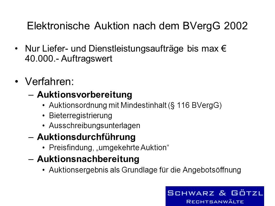Elektronische Auktion nach dem BVergG 2002 Nur Liefer- und Dienstleistungsaufträge bis max 40.000.- Auftragswert Verfahren: –Auktionsvorbereitung Aukt