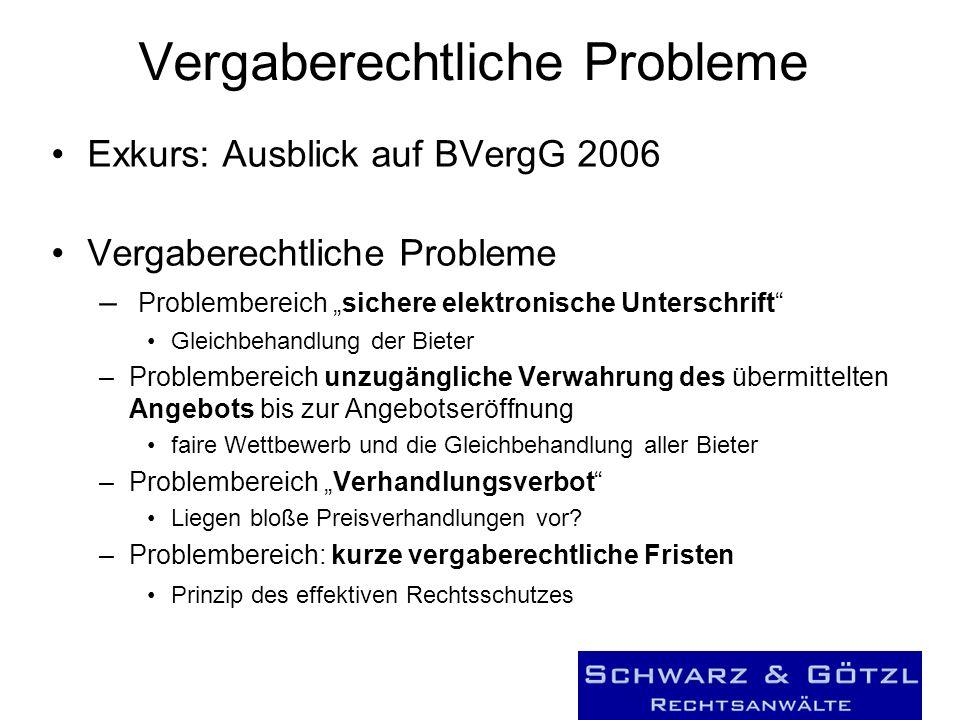 Vergaberechtliche Probleme Exkurs: Ausblick auf BVergG 2006 Vergaberechtliche Probleme – Problembereich sichere elektronische Unterschrift Gleichbehan