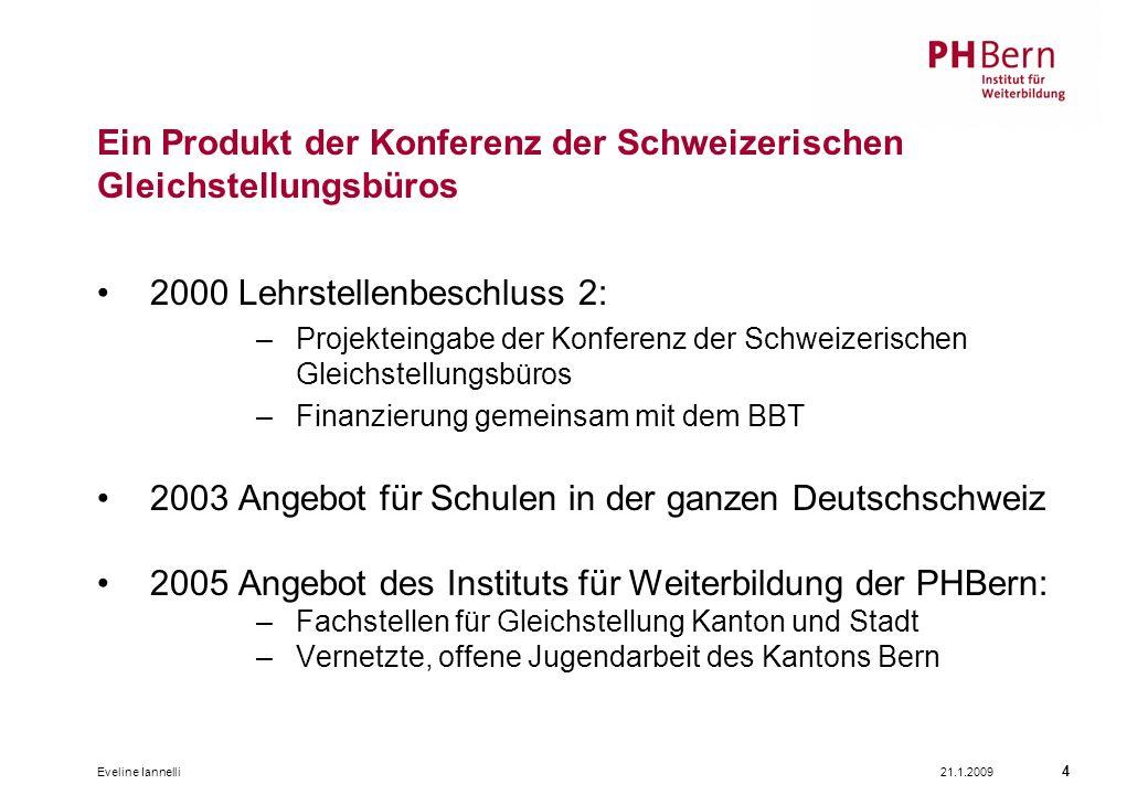 21.1.2009Eveline Iannelli 4 Ein Produkt der Konferenz der Schweizerischen Gleichstellungsbüros 2000 Lehrstellenbeschluss 2: –Projekteingabe der Konfer