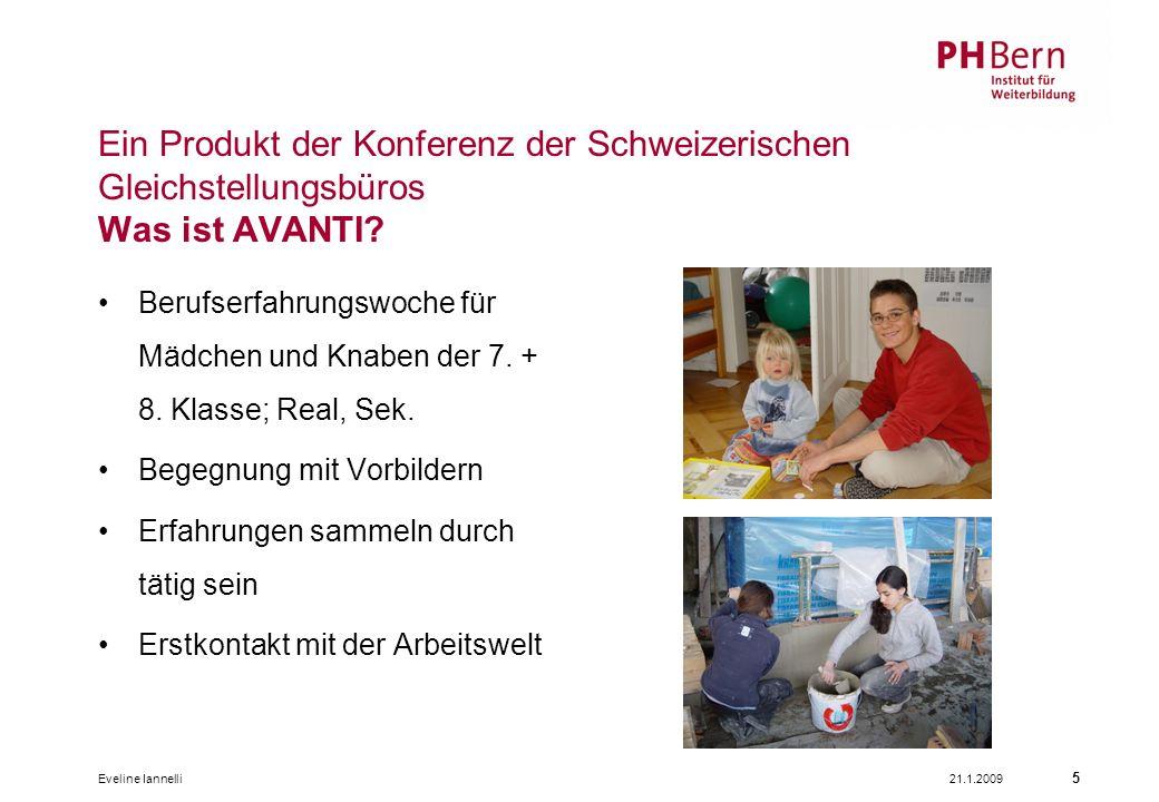 21.1.2009Eveline Iannelli 5 Ein Produkt der Konferenz der Schweizerischen Gleichstellungsbüros Was ist AVANTI? Berufserfahrungswoche für Mädchen und K