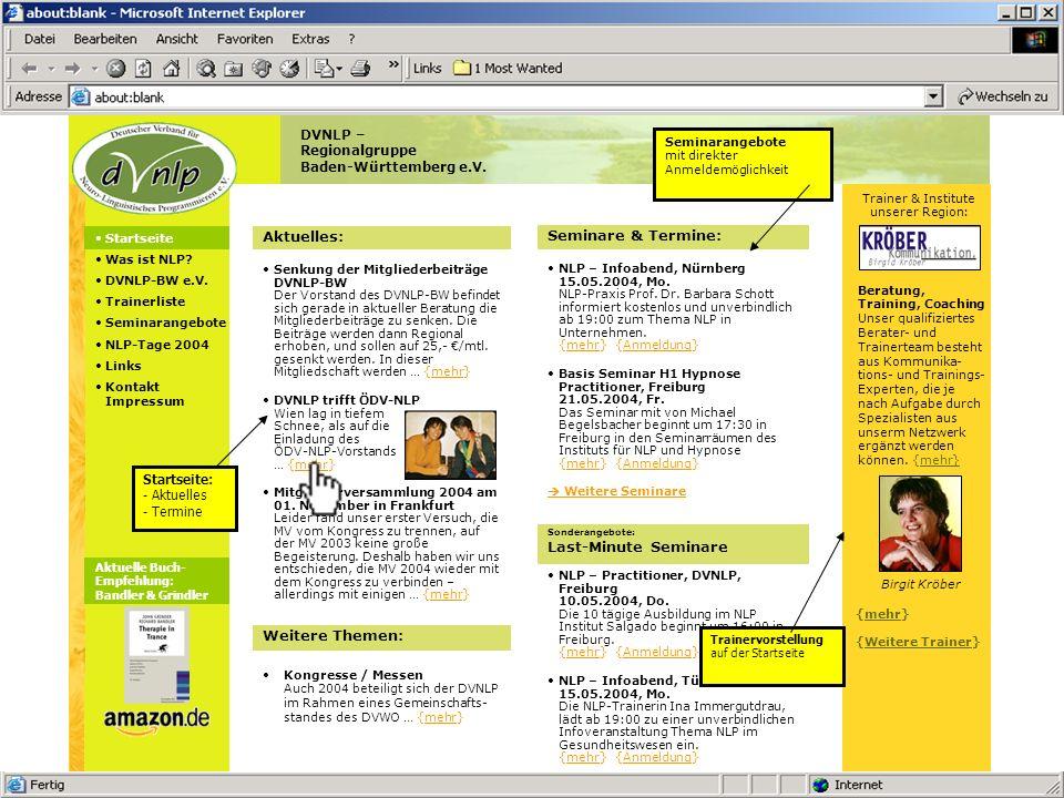 NLP-Ausbildung Offene Seminare Termine Trainer Info/Kontakt Stufe 1: NLP-Practitioner plus klassisch Der Weg zu excellenter Kommunikation und Selbstmanagement, der klassische Practitioner - die umfassende Ausbildung mit allen Möglichkeiten...