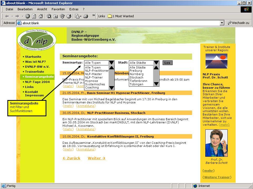 Sites – Kurzpräsentation Version vom 13.05.2004 © 2004 Pappert GmbH Angebot: Trainer-Paket 3 Trainerliste, Profil, 5 eigene Seiten, Seminarangebote Vorstellung auf der Startseite Komplett eigene Trainer-Internet-Seite in indiv.