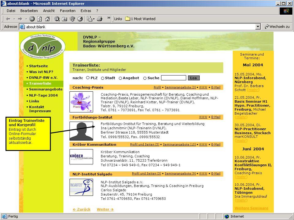 Sites – Kurzpräsentation Version vom 13.05.2004 © 2004 Pappert GmbH Angebot: Trainer-Paket 1 Trainerliste Erweitertes Profil Seminarangebote