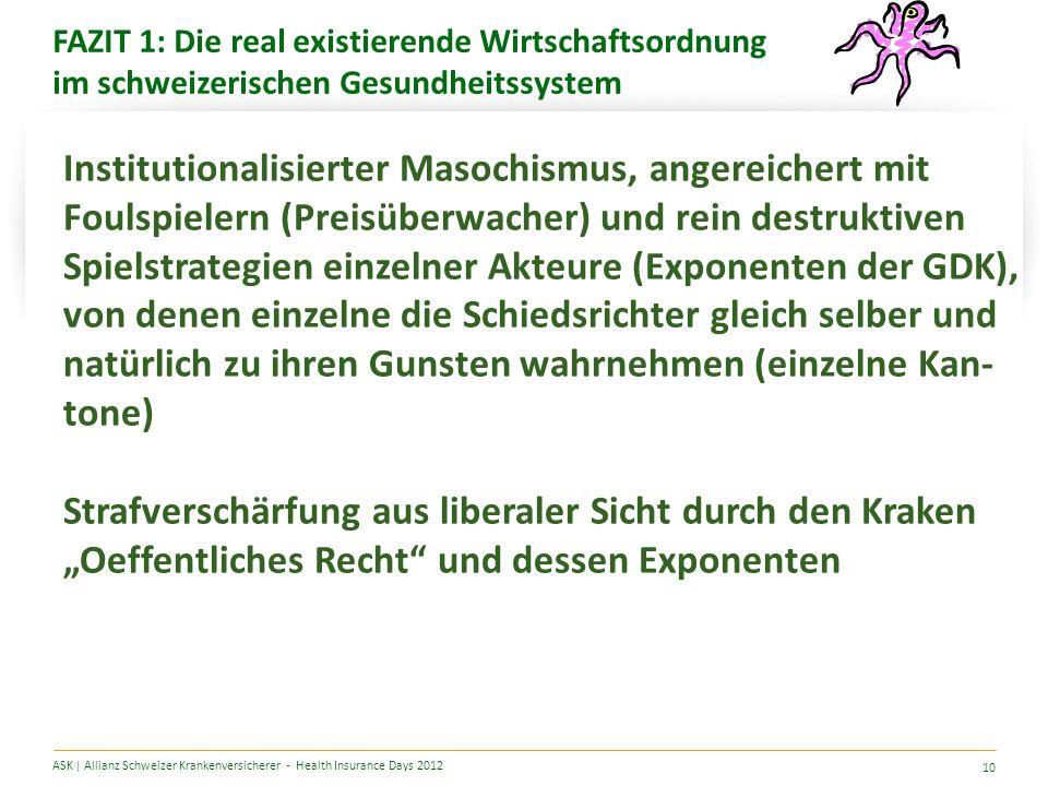 FAZIT 1: Die real existierende Wirtschaftsordnung im schweizerischen Gesundheitssystem ASK | Allianz Schweizer Krankenversicherer - Health Insurance Days 2012 10 Institutionalisierter Masochismus, angereichert mit Foulspielern (Preisüberwacher) und rein destruktiven Spielstrategien einzelner Akteure (Exponenten der GDK), von denen einzelne die Schiedsrichter gleich selber und natürlich zu ihren Gunsten wahrnehmen (einzelne Kan- tone) Strafverschärfung aus liberaler Sicht durch den Kraken Oeffentliches Recht und dessen Exponenten