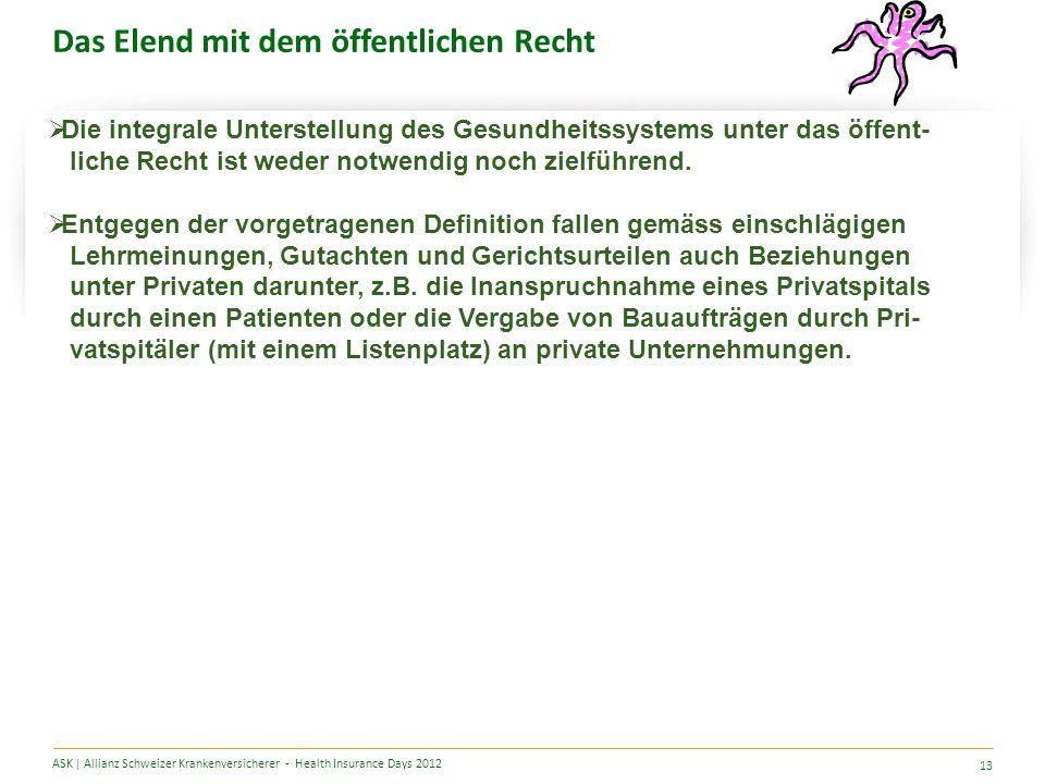 Das Elend mit dem öffentlichen Recht ASK | Allianz Schweizer Krankenversicherer - Health Insurance Days 2012 13 Die integrale Unterstellung des Gesundheitssystems unter das öffent- liche Recht ist weder notwendig noch zielführend.