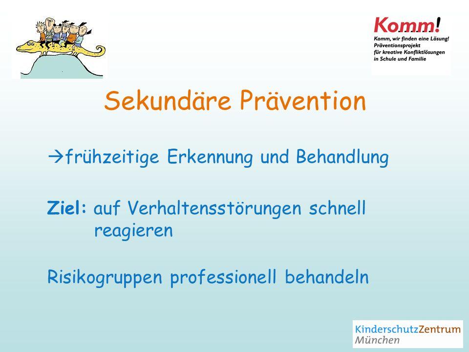 Sekundäre Prävention frühzeitige Erkennung und Behandlung Ziel: auf Verhaltensstörungen schnell reagieren Risikogruppen professionell behandeln