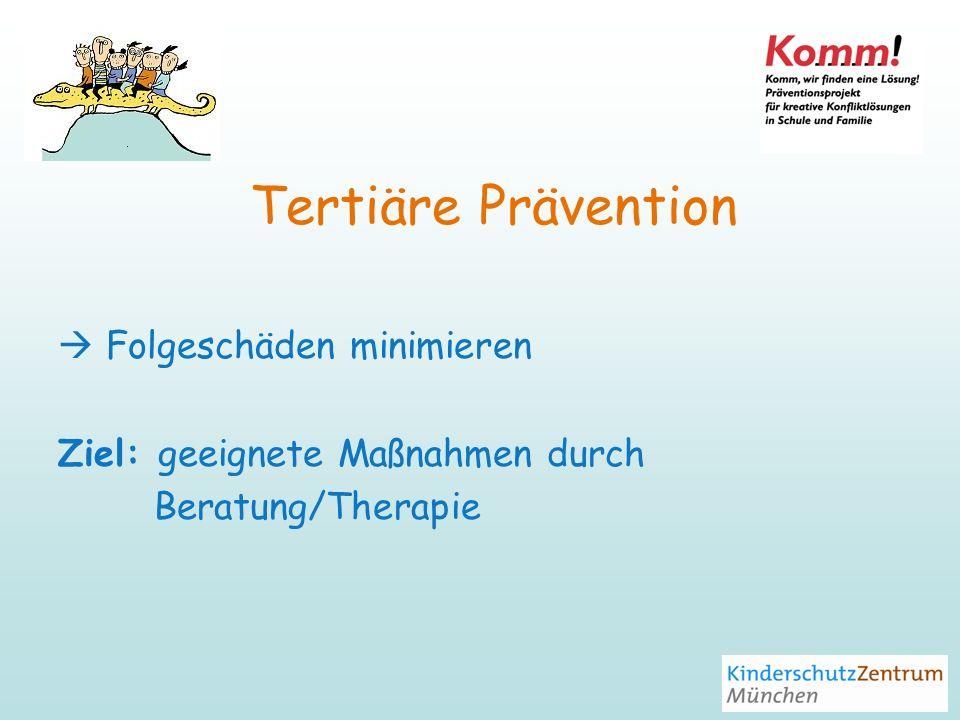 Tertiäre Prävention Folgeschäden minimieren Ziel: geeignete Maßnahmen durch Beratung/Therapie
