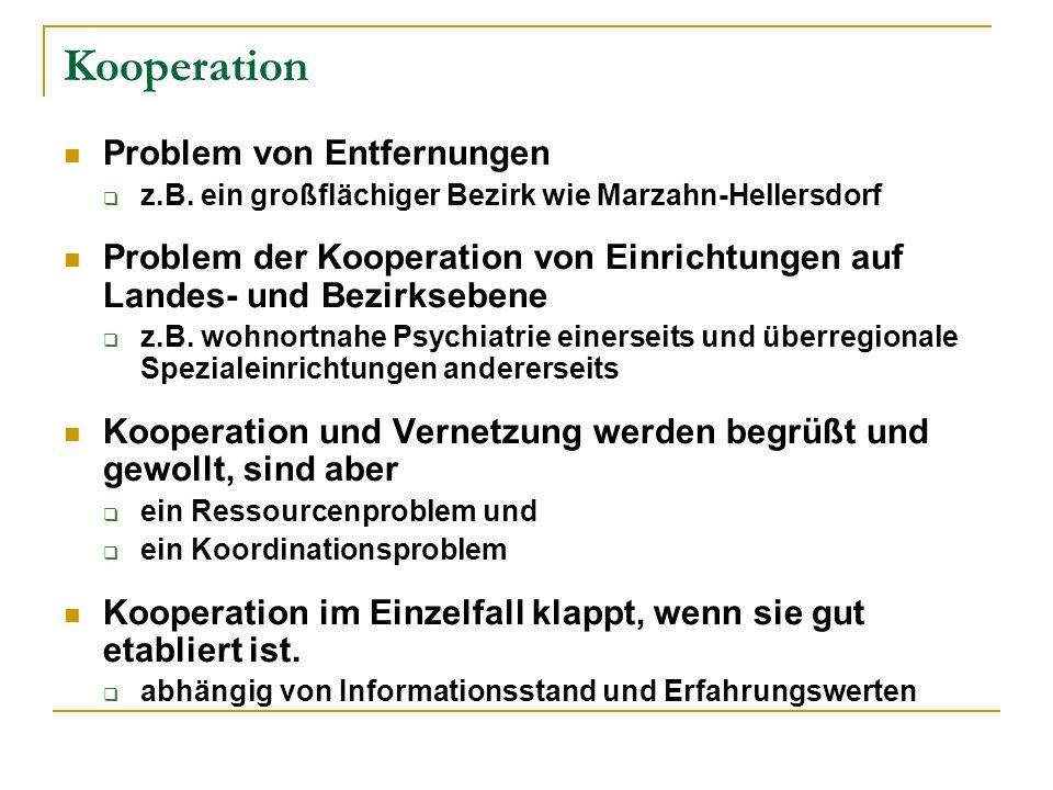 Kooperation Problem von Entfernungen z.B. ein großflächiger Bezirk wie Marzahn-Hellersdorf Problem der Kooperation von Einrichtungen auf Landes- und B