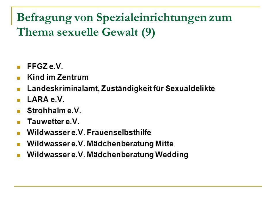 Befragung von Spezialeinrichtungen zum Thema sexuelle Gewalt (9) FFGZ e.V.