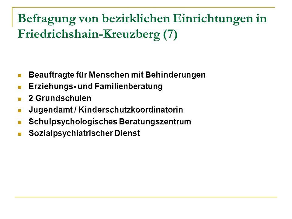 Befragung von bezirklichen Einrichtungen in Friedrichshain-Kreuzberg (7) Beauftragte für Menschen mit Behinderungen Erziehungs- und Familienberatung 2 Grundschulen Jugendamt / Kinderschutzkoordinatorin Schulpsychologisches Beratungszentrum Sozialpsychiatrischer Dienst