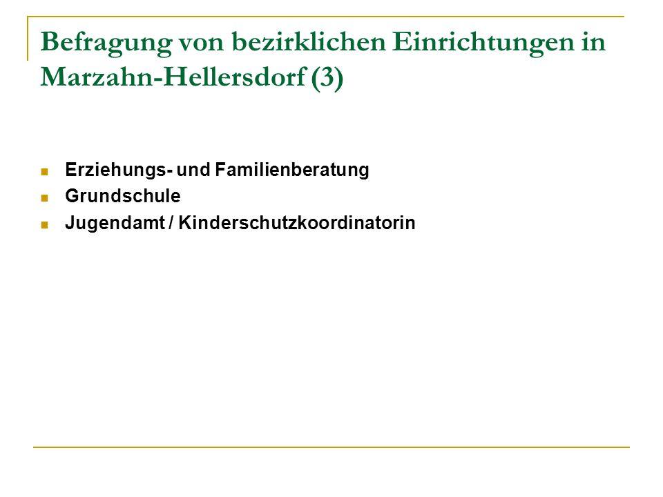 Befragung von bezirklichen Einrichtungen in Marzahn-Hellersdorf (3) Erziehungs- und Familienberatung Grundschule Jugendamt / Kinderschutzkoordinatorin