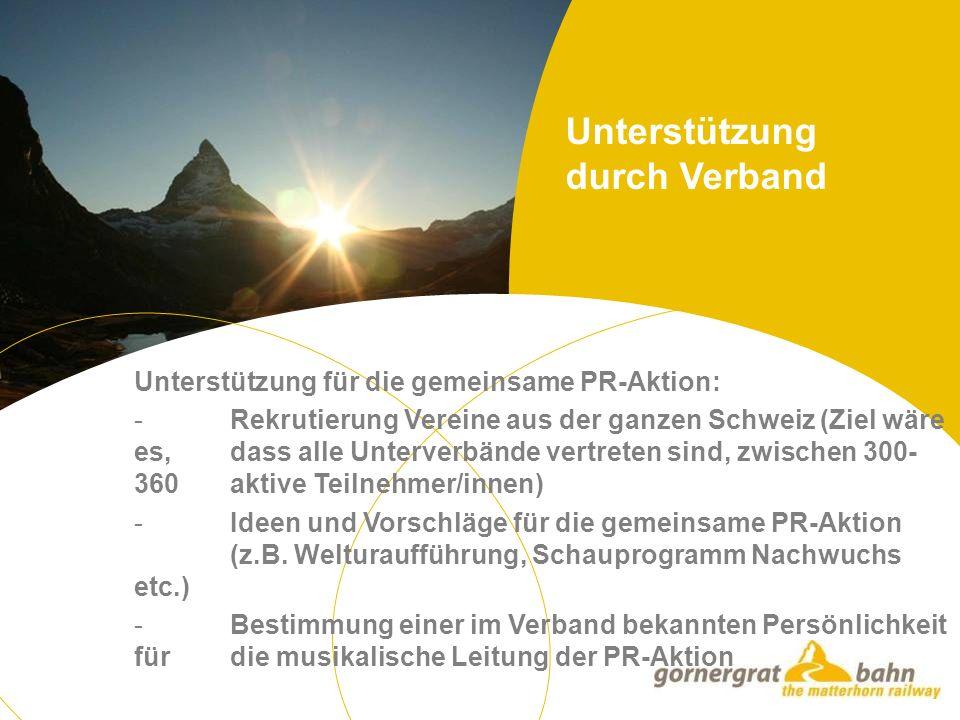 Unterstützung für die gemeinsame PR-Aktion: - Rekrutierung Vereine aus der ganzen Schweiz (Ziel wäre es, dass alle Unterverbände vertreten sind, zwischen 300- 360 aktive Teilnehmer/innen) - Ideen und Vorschläge für die gemeinsame PR-Aktion (z.B.