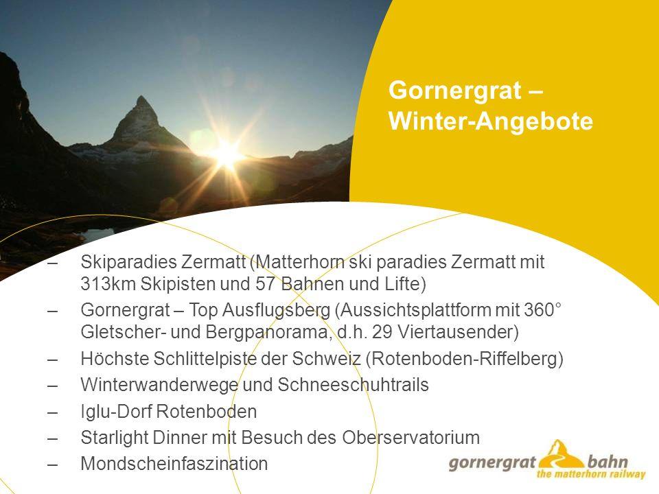 Gornergrat – Winter-Angebote – Skiparadies Zermatt (Matterhorn ski paradies Zermatt mit 313km Skipisten und 57 Bahnen und Lifte) – Gornergrat – Top Ausflugsberg (Aussichtsplattform mit 360° Gletscher- und Bergpanorama, d.h.