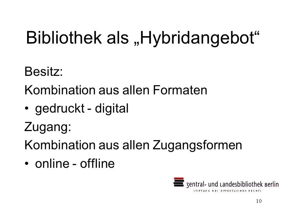 10 Bibliothek als Hybridangebot Besitz: Kombination aus allen Formaten gedruckt - digital Zugang: Kombination aus allen Zugangsformen online - offline
