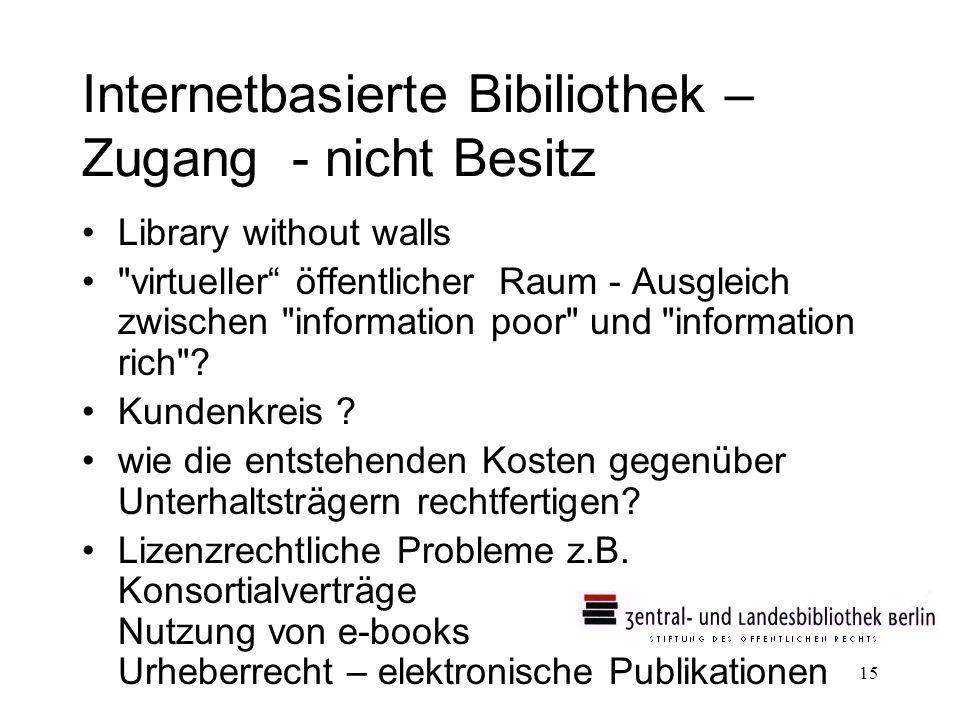 15 Internetbasierte Bibiliothek – Zugang - nicht Besitz Library without walls