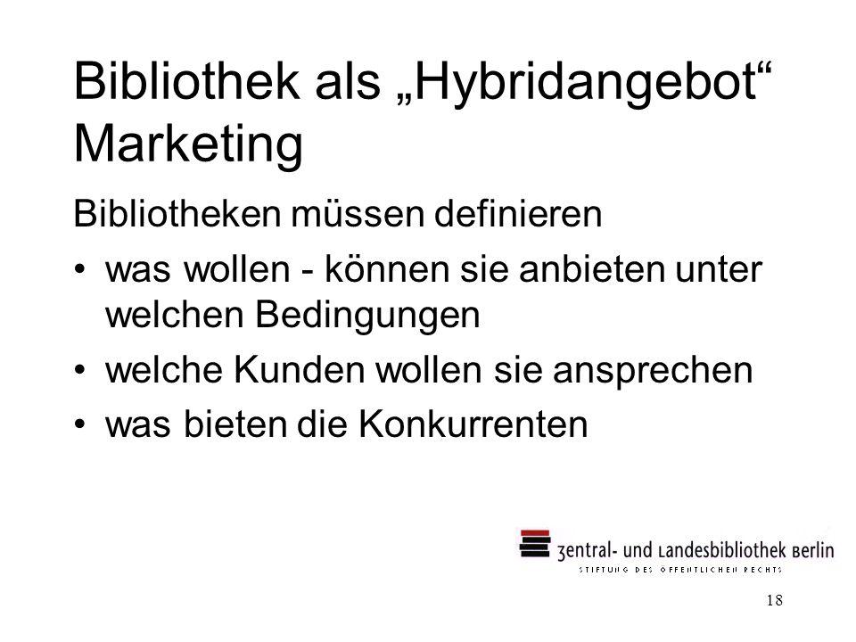 18 Bibliothek als Hybridangebot Marketing Bibliotheken müssen definieren was wollen - können sie anbieten unter welchen Bedingungen welche Kunden wollen sie ansprechen was bieten die Konkurrenten