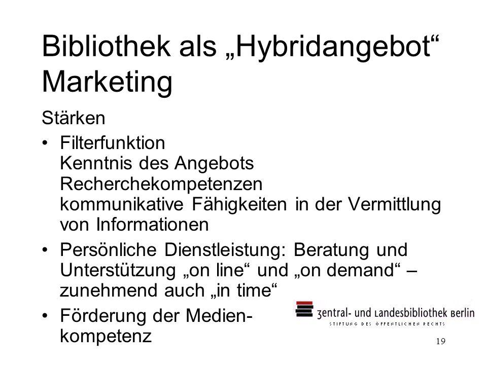 19 Bibliothek als Hybridangebot Marketing Stärken Filterfunktion Kenntnis des Angebots Recherchekompetenzen kommunikative Fähigkeiten in der Vermittlu