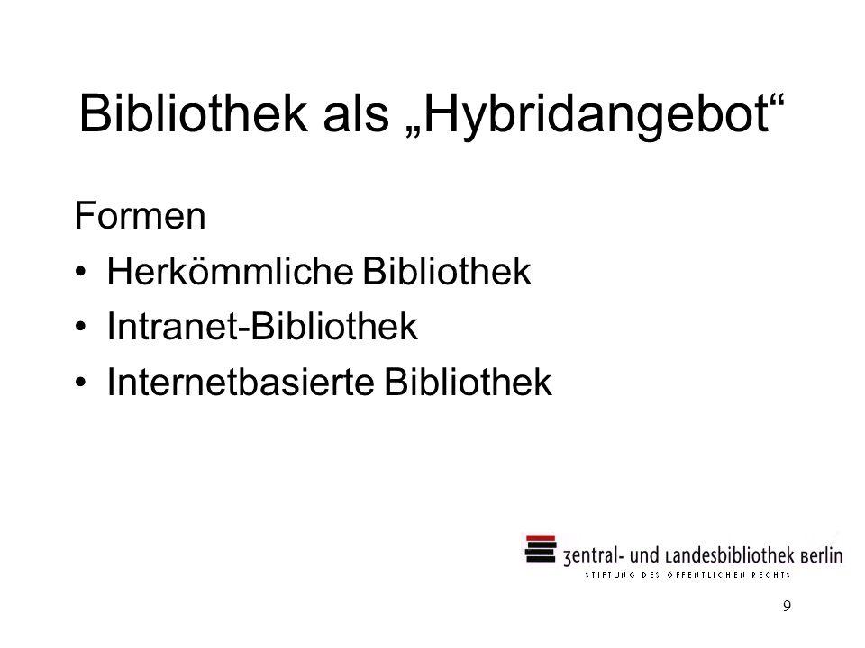 9 Bibliothek als Hybridangebot Formen Herkömmliche Bibliothek Intranet-Bibliothek Internetbasierte Bibliothek