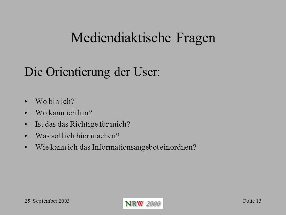25. September 2003Folie 13 Mediendiaktische Fragen Die Orientierung der User: Wo bin ich? Wo kann ich hin? Ist das das Richtige für mich? Was soll ich