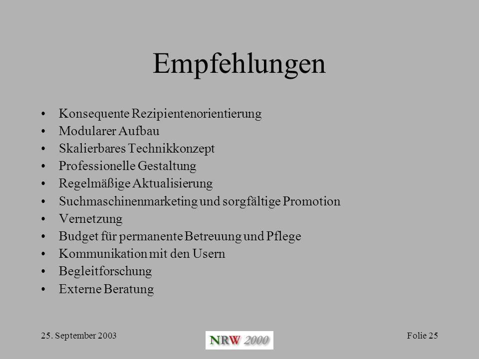 25. September 2003Folie 25 Empfehlungen Konsequente Rezipientenorientierung Modularer Aufbau Skalierbares Technikkonzept Professionelle Gestaltung Reg