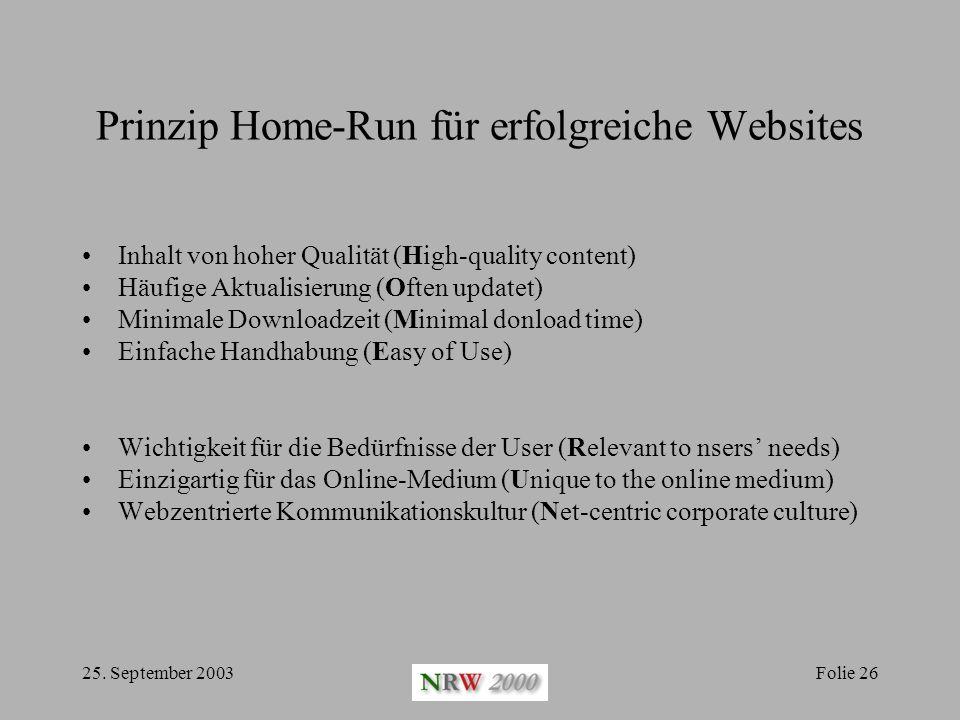 25. September 2003Folie 26 Prinzip Home-Run für erfolgreiche Websites Inhalt von hoher Qualität (High-quality content) Häufige Aktualisierung (Often u
