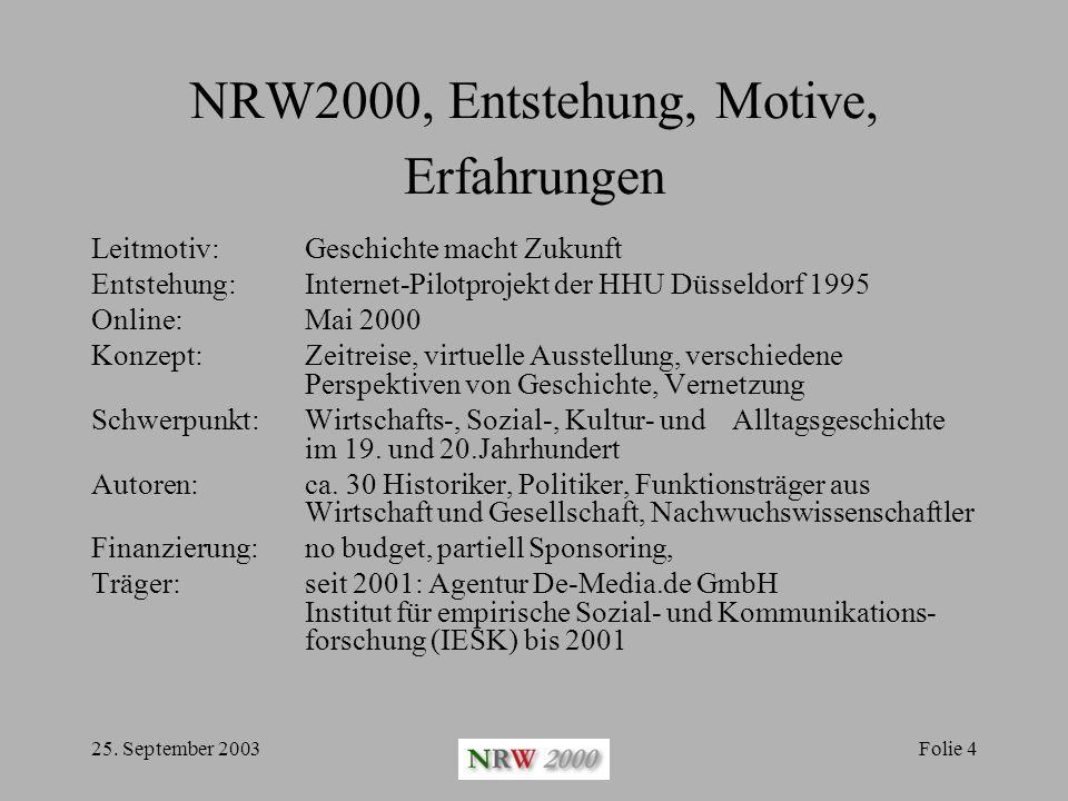 25. September 2003Folie 4 NRW2000, Entstehung, Motive, Erfahrungen Leitmotiv: Geschichte macht Zukunft Entstehung: Internet-Pilotprojekt der HHU Düsse