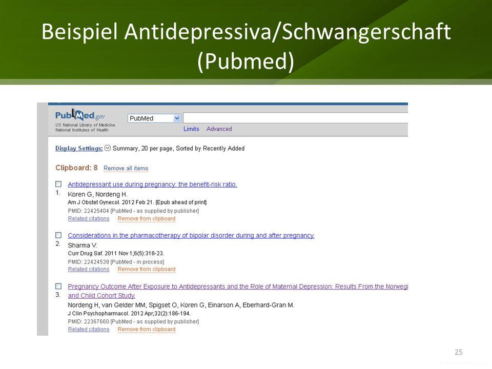 Beispiel Antidepressiva/Schwangerschaft (Pubmed) 25