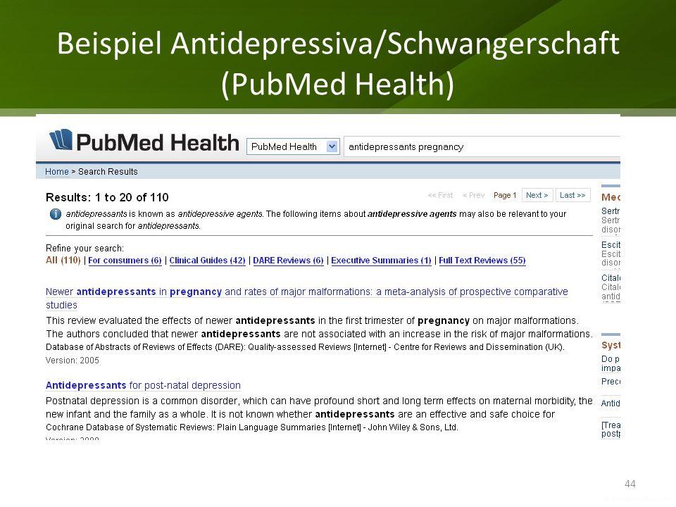 Beispiel Antidepressiva/Schwangerschaft (PubMed Health) 44