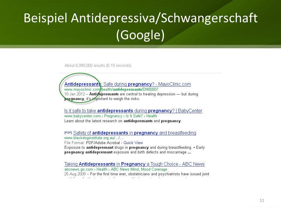 Beispiel Antidepressiva/Schwangerschaft (Google) 51
