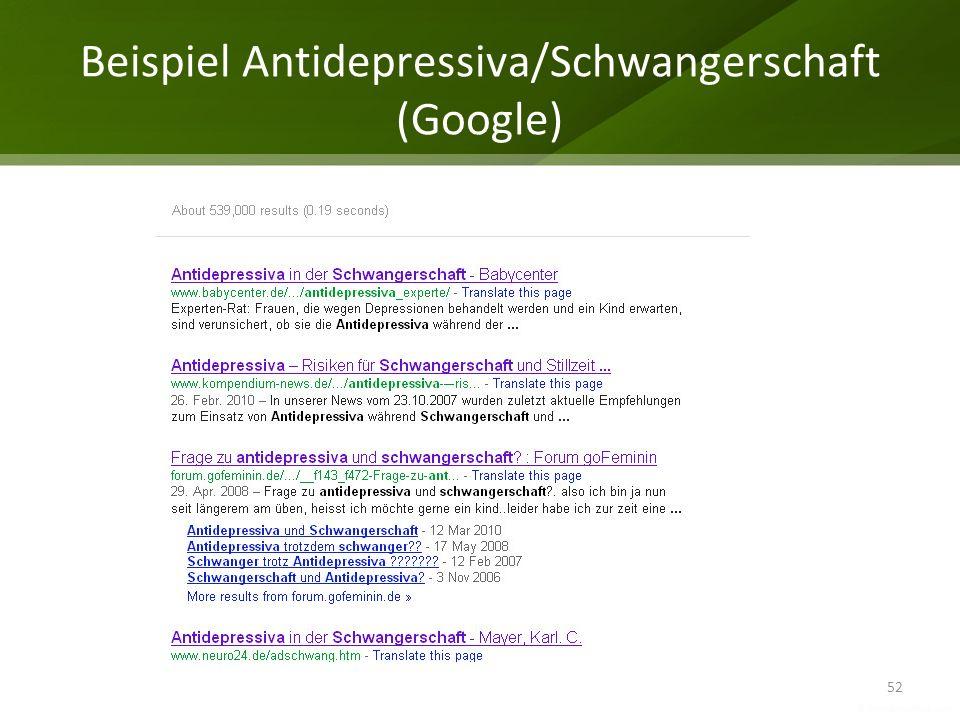 Beispiel Antidepressiva/Schwangerschaft (Google) 52