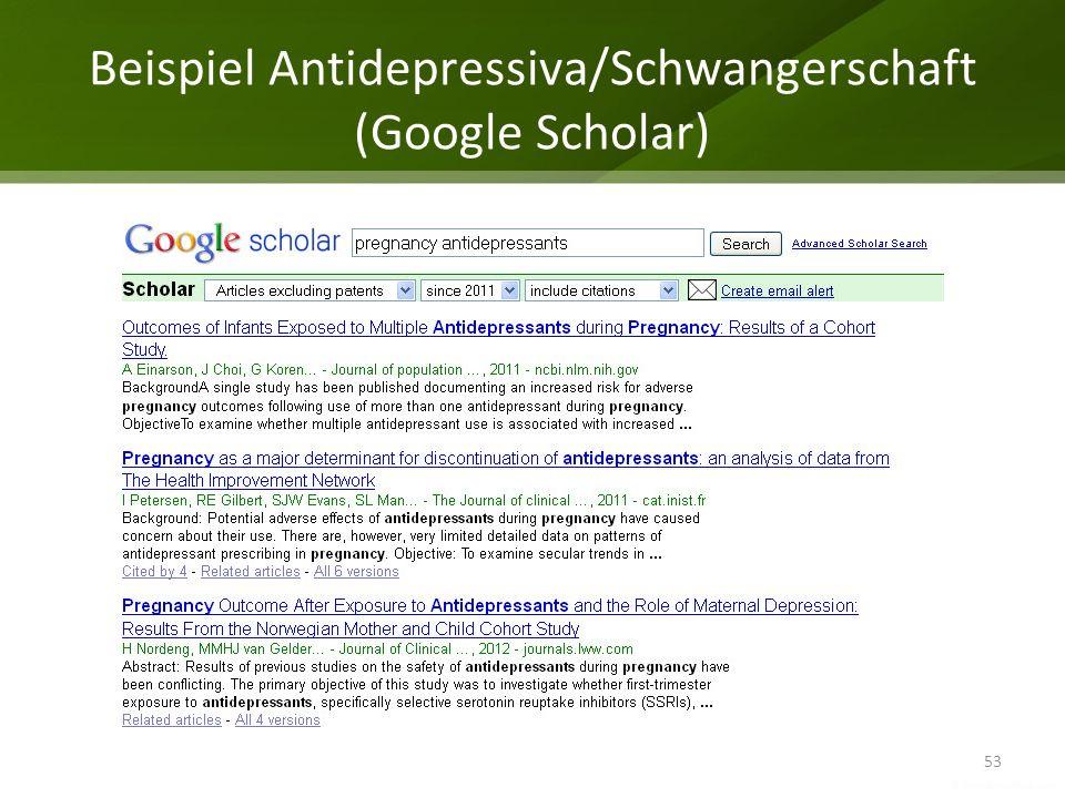 Beispiel Antidepressiva/Schwangerschaft (Google Scholar) 53