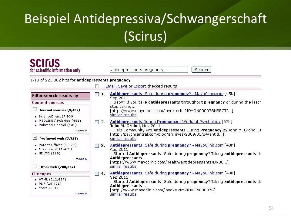 Beispiel Antidepressiva/Schwangerschaft (Scirus) 54