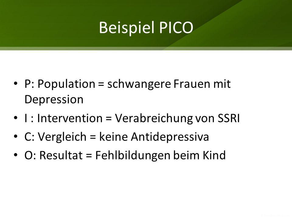 Beispiel PICO P: Population = schwangere Frauen mit Depression I : Intervention = Verabreichung von SSRI C: Vergleich = keine Antidepressiva O: Result