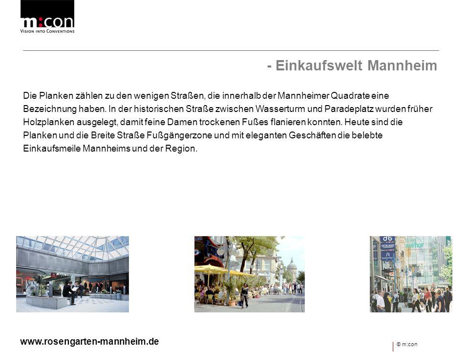 - Einkaufswelt Mannheim Die Planken zählen zu den wenigen Straßen, die innerhalb der Mannheimer Quadrate eine Bezeichnung haben. In der historischen S