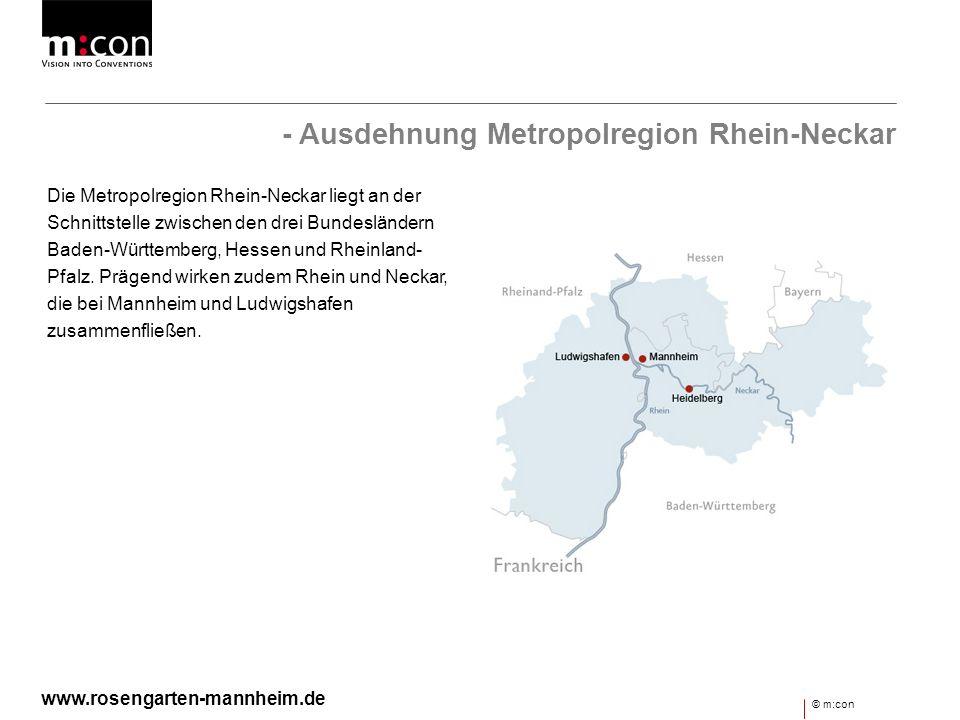 - Fakten & Zahlen Fläche von mehr als 5.000 Quadratkilometer 2,3 Millionen Einwohner 790.000 Beschäftigte Hervorragende Verkehrsanbindung Zwischen Naturpark Pfälzerwald und Odenwald © m:con www.rosengarten-mannheim.de