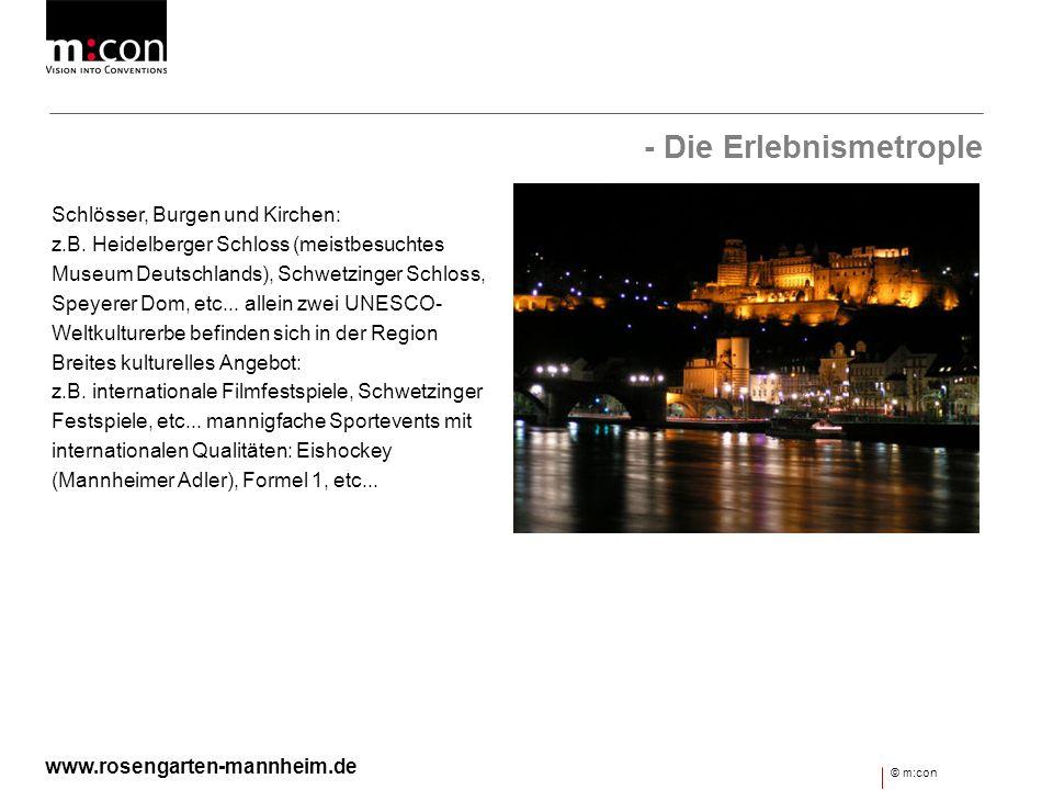 - Die Erlebnismetrople Schlösser, Burgen und Kirchen: z.B. Heidelberger Schloss (meistbesuchtes Museum Deutschlands), Schwetzinger Schloss, Speyerer D