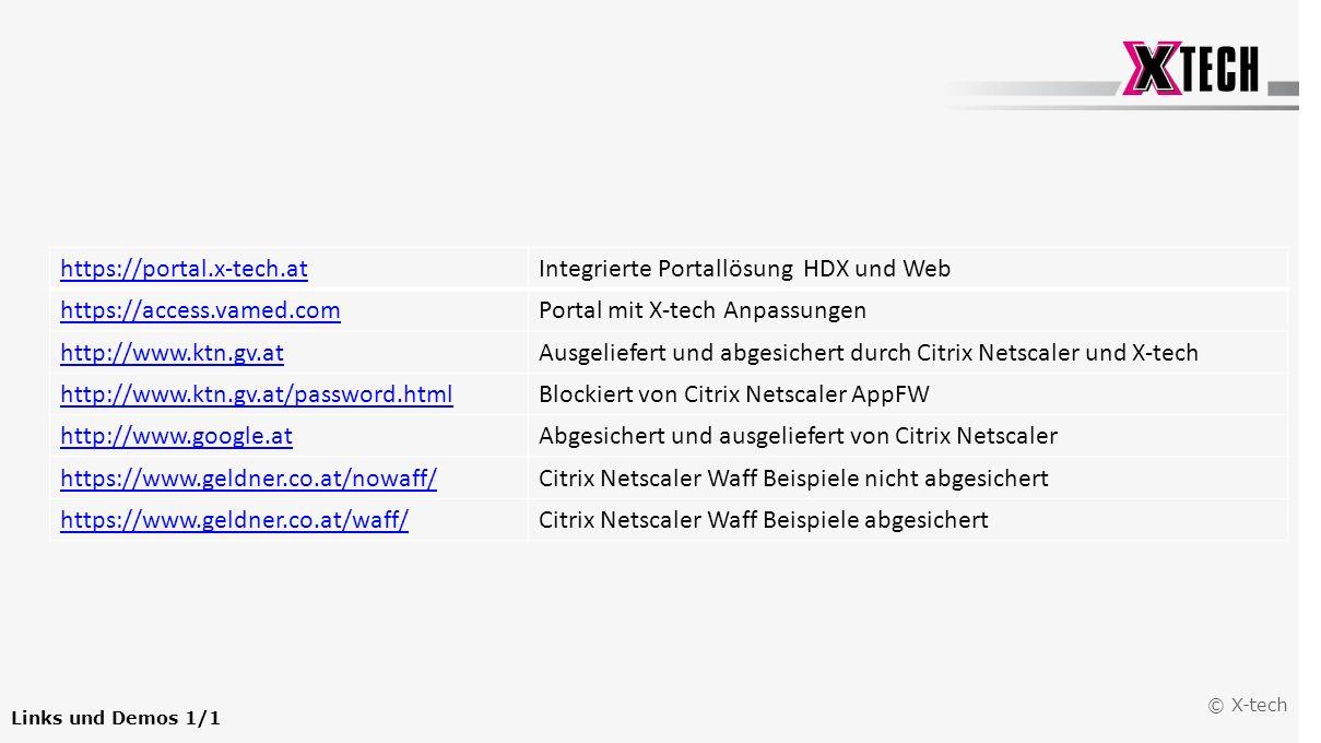 © X-tech Links und Demos 1/1 https://portal.x-tech.atIntegrierte Portallösung HDX und Web https://access.vamed.comPortal mit X-tech Anpassungen http:/