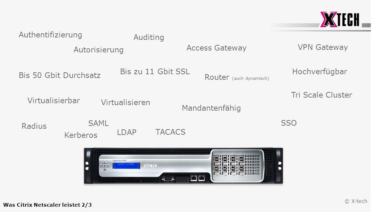 © X-tech Authentifizierung Autorisierung Auditing VPN Gateway Access Gateway Router (auch dynamisch) Virtualisieren Hochverfügbar Tri Scale Cluster Ma