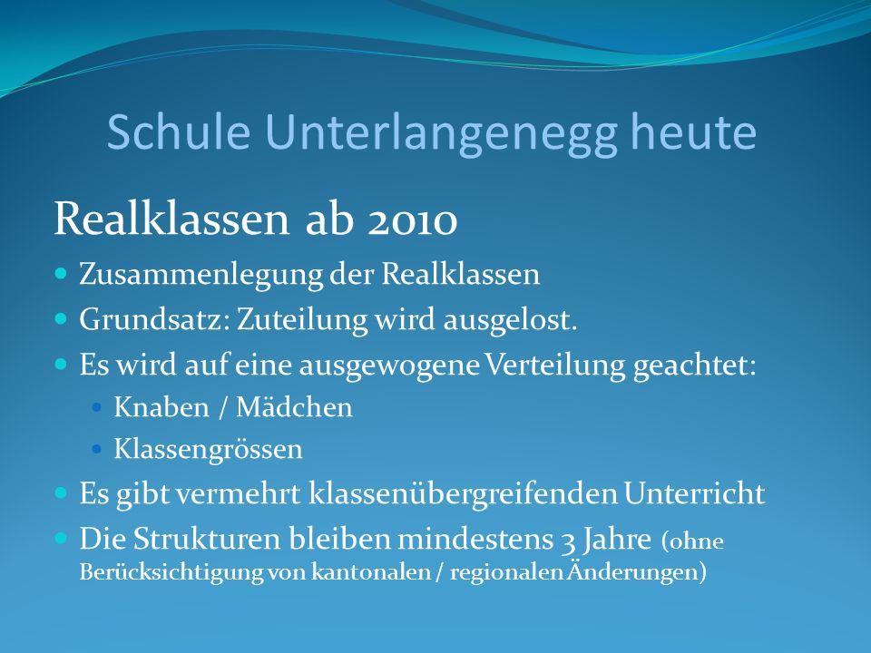 Schule Unterlangenegg heute Realklassen ab 2010 Zusammenlegung der Realklassen Grundsatz: Zuteilung wird ausgelost. Es wird auf eine ausgewogene Verte