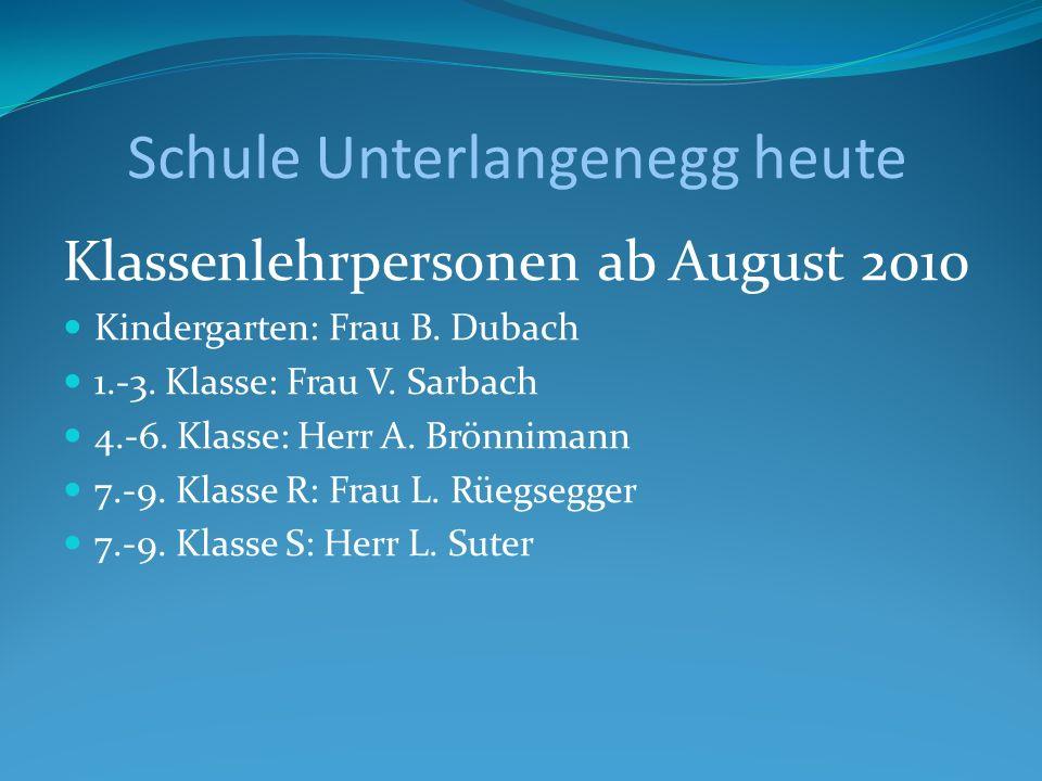 Schule Unterlangenegg heute Klassenlehrpersonen ab August 2010 Kindergarten: Frau B. Dubach 1.-3. Klasse: Frau V. Sarbach 4.-6. Klasse: Herr A. Brönni