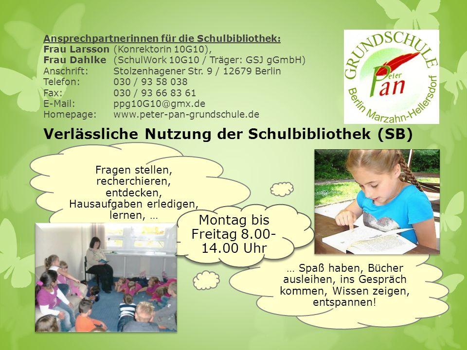 Ansprechpartnerinnen für die Schulbibliothek: Frau Larsson(Konrektorin 10G10), Frau Dahlke (SchulWork 10G10 / Träger: GSJ gGmbH) Anschrift: Stolzenhag