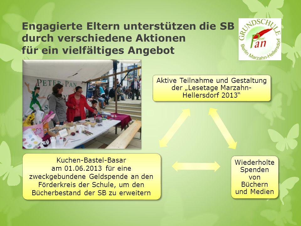 Aktive Teilnahme und Gestaltung der Lesetage Marzahn- Hellersdorf 2013 Wiederholte Spenden von Büchern und Medien Kuchen-Bastel-Basar am 01.06.2013 fü